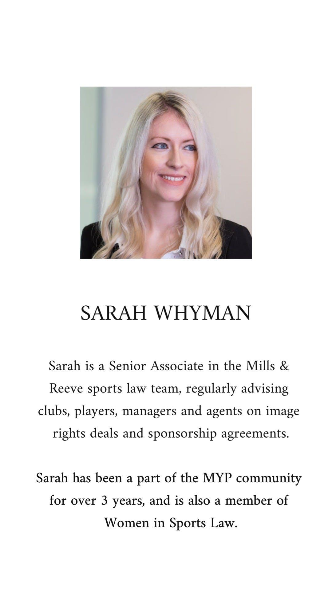 sarah whyman bio