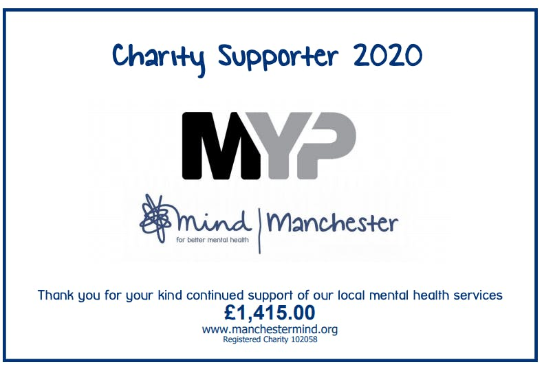 MYP have helped Manchester Mind raise lots of money over the last two years