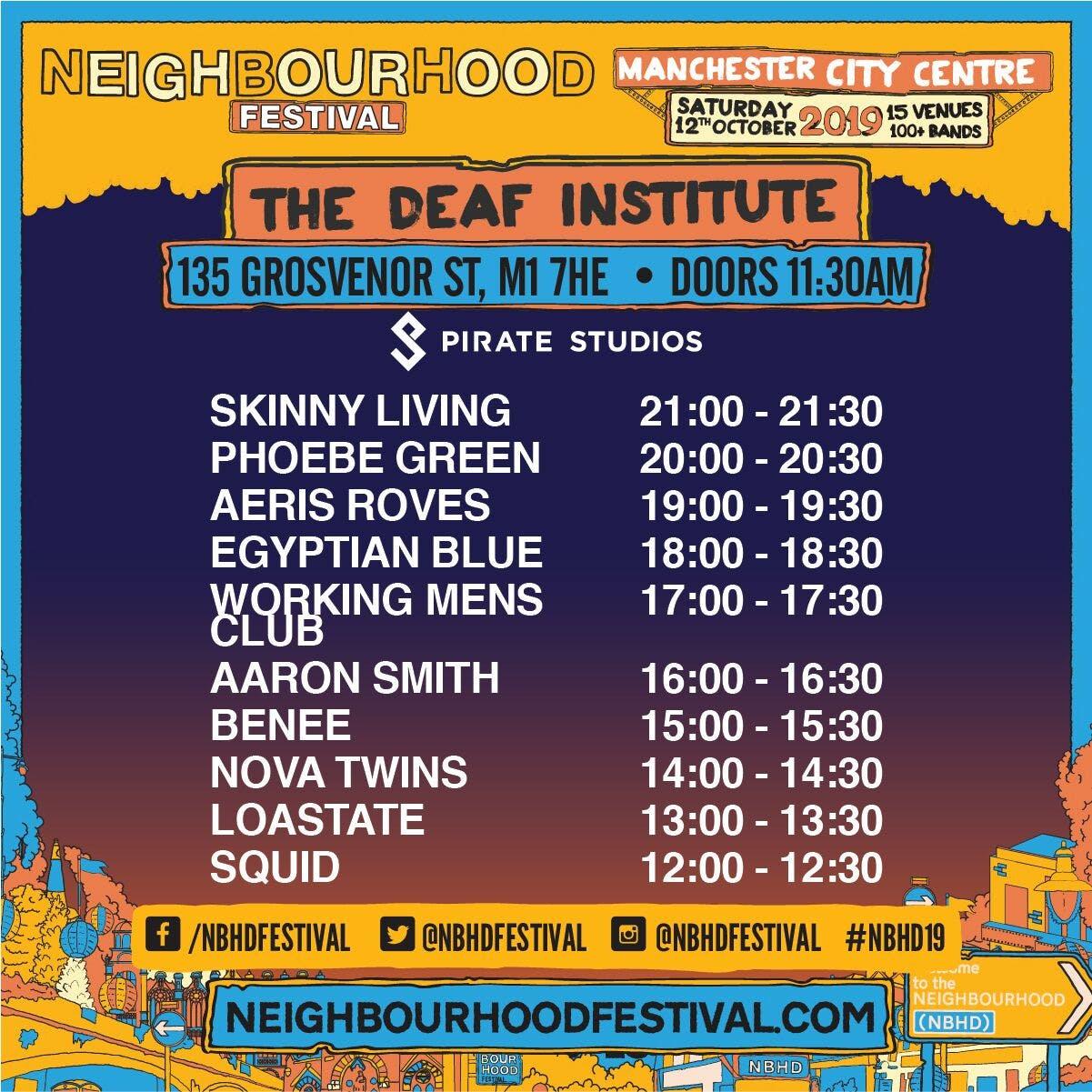 Stage times: Neighbourhood Festival